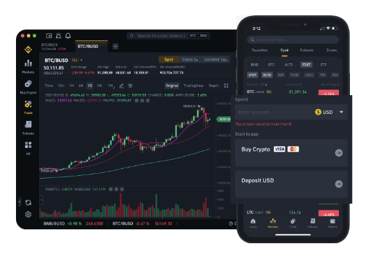 Mobile and website of Binance