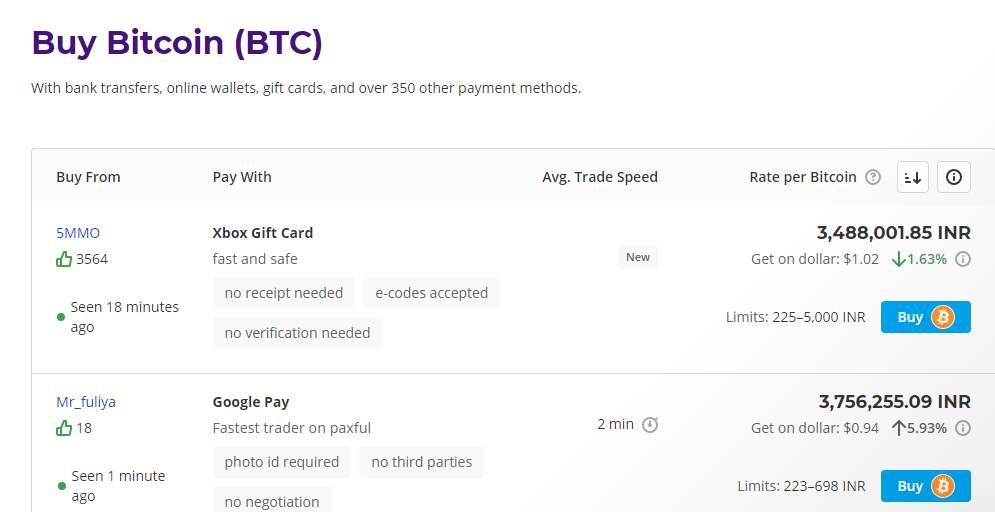 buying BItcoin on Paxful
