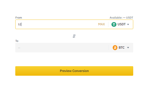 Binance Crypto conversion
