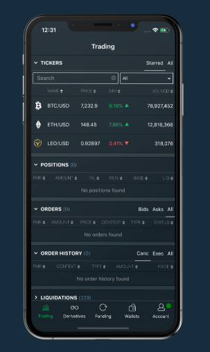 Easy and instant trading on Bitfinex